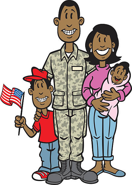 Military family, boy holding American flag