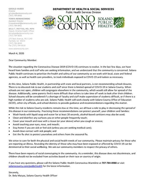 Picture of letter from Solano County Public Health with Link to pdf of letter
