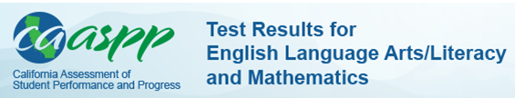 caaspp logo with Test Results for English Language Arts/Literacy and Mathematics