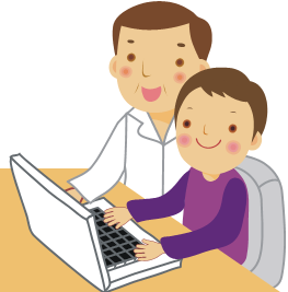 Graphic if a student and adult at a computer.