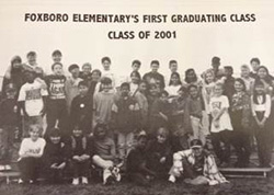 Historical photo of first group of students promoted from Foxboro Elementary School in 2001