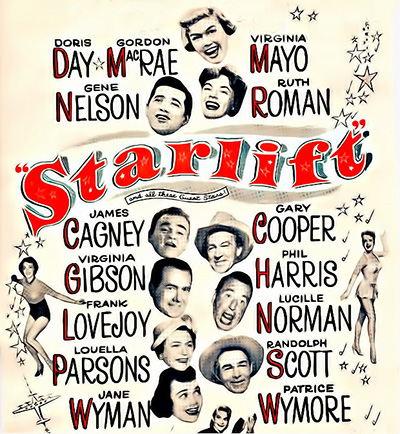 Historical Starlift movie poster listing names of stars