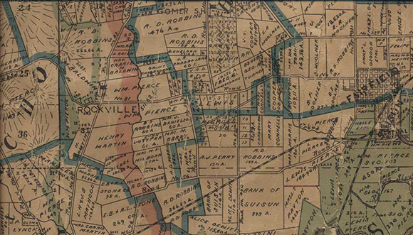 Antique map showing Old Rockville area