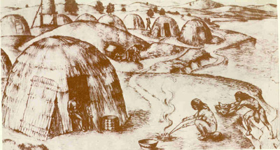 Drawing of Patwin village showing thatched houses and person cooking over a fire