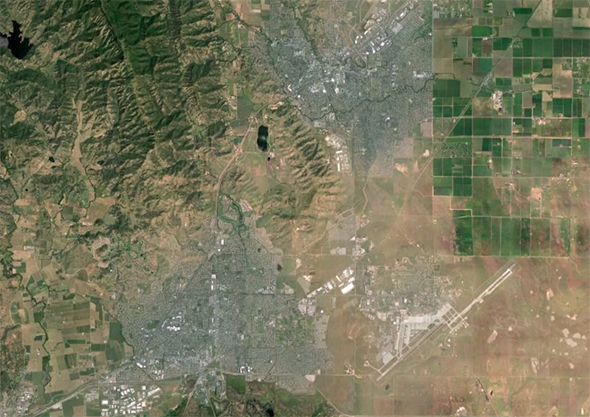 Aerial photo of the geographic area served by Travis Unified School District