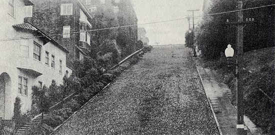 Historical photo of Baker Street in San Francisco which was paved with cobblestones