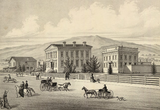 Historical drawing of Fairfield courthouse in 1878