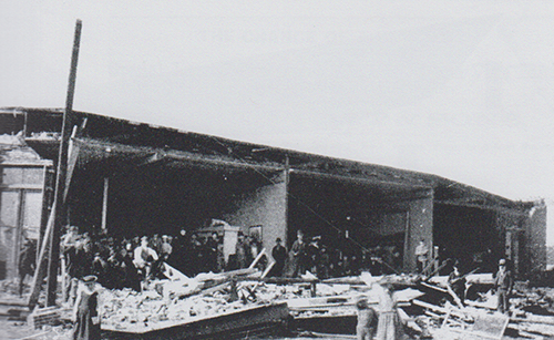 Historical photo showing earthquake damage to Main Street in Vacaville