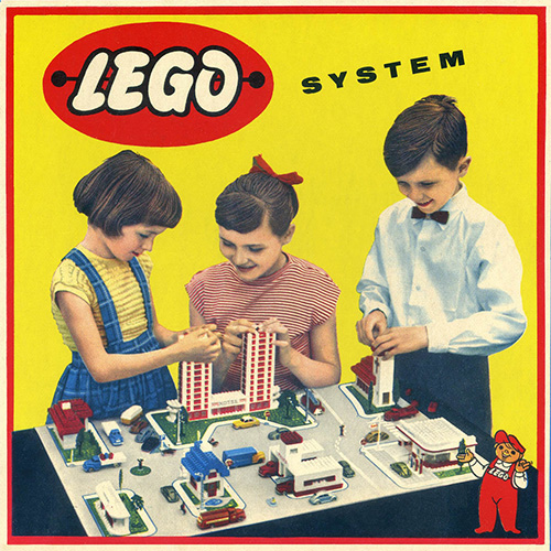 Historical Lego set box showing children playing with Lego bricks