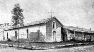 Historical exterior photo of Mission Solano showing chapel and attached buildings