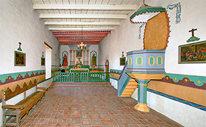 Photo of the interior of Sonoma Mission, present day