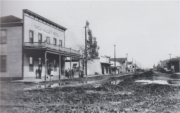 Historical photo of muddy streets in downtown Vacaville in 1885