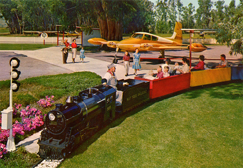 Historical photo of the small children's train at Nut Tree
