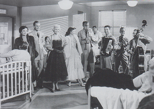 Scene from Starlight movie picture with stars and injured airmen in a hospital setting