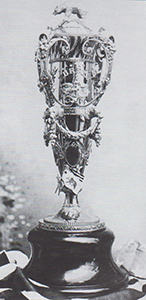 Historical photo of agricultural exhibit trophy