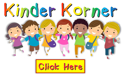 "Kids standing in a line with backpacks on below the words ""kinder korner"" and above a ""click here"" button"