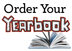 The words Order Your Yearbook with a picture book open with fanned out pages