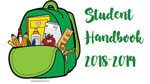 "Picture of an open backpack with school supplies and the words ""Student Handbook 2018-2019"""