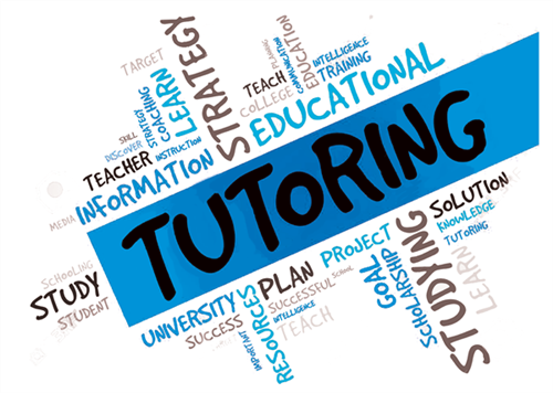 The word tutoring in a banner in the middle or a bunch of learning educational words